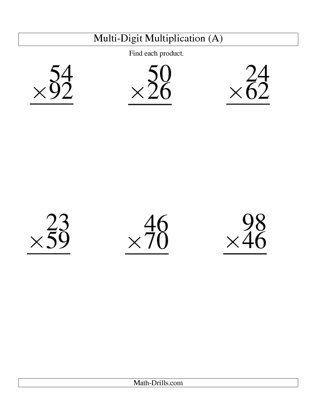 Multiplying Double Digits Worksheets – Multi Digit Multiplication Worksheet